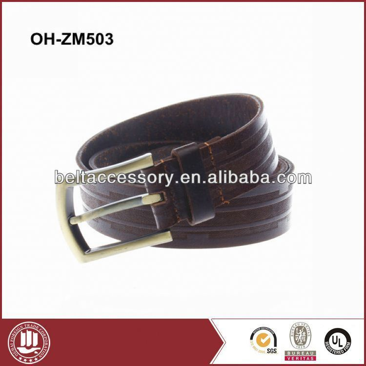 Full grain leather belt polo belt with stitching