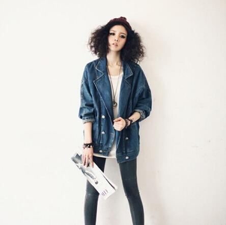 fashion retro vintage big pocket veste en jean femme blue. Black Bedroom Furniture Sets. Home Design Ideas