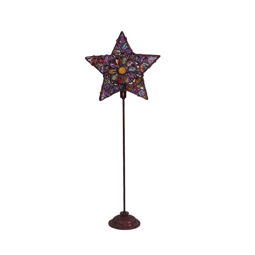 WAN SAN QIAN- Creative Moroccan Iron Beaded Floor Lamp Children's Bedroom Vertical Retro Lamp Decorative Lights E141 Floor Lamp (Size : M)