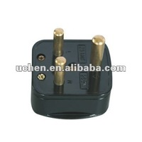YGA-010 IP20 south africa 3 pin black electrical plug 250V