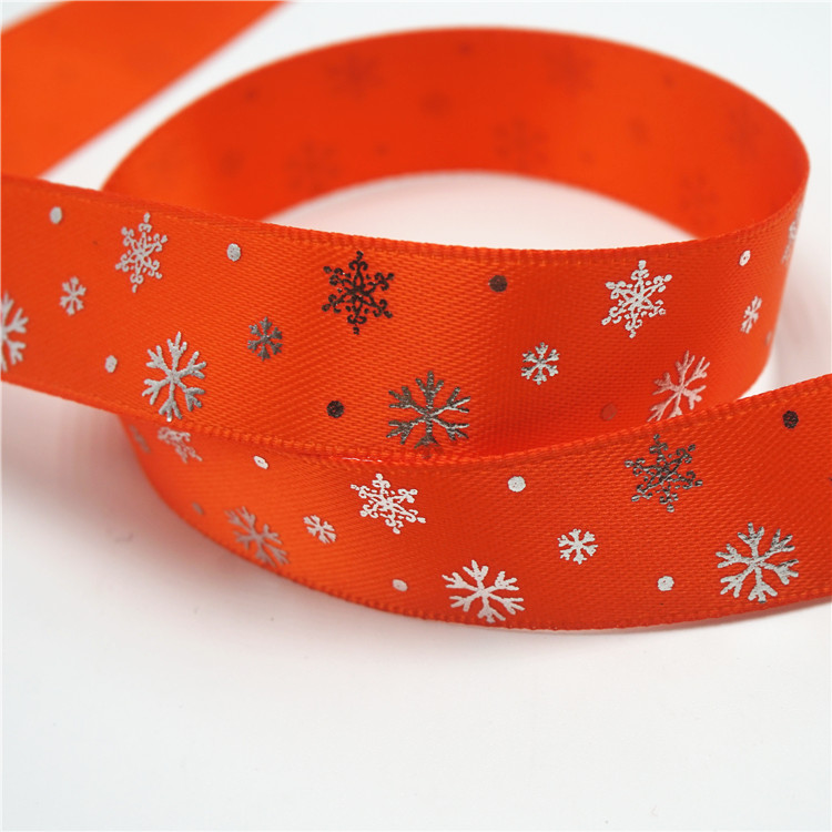 Holiday decorate Christmas snowflake satin ribbon