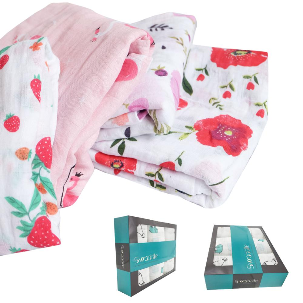 Elinfant High quality swaddle blanket with organic muslin bamboo wrap blanket in gift box for baby, Custom color