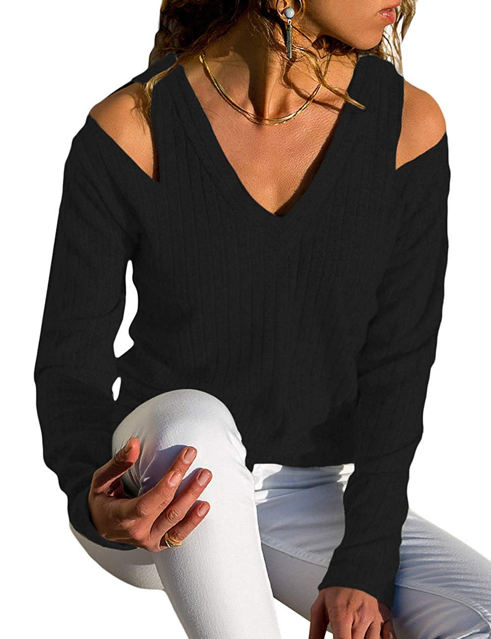 CILKOO Womens Sexy V Neck Cold Shoulder Long Sleeve Rib Knit Sweater Pullover Tops Blouses(S-XXL)