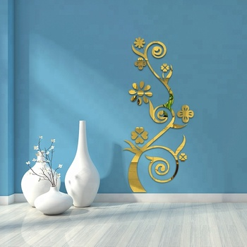 . 3d Mirror Wall Stickers Living Room Entrance Bedroom Tv Wall Decals  Marriage Room Decorated Luxury Vase Plum Flowers   Buy Diy Wall