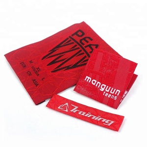Wholesale Custom Famous Brand Name Logo Centerfold Machine Woven Damask Clothes Labels for Clothing