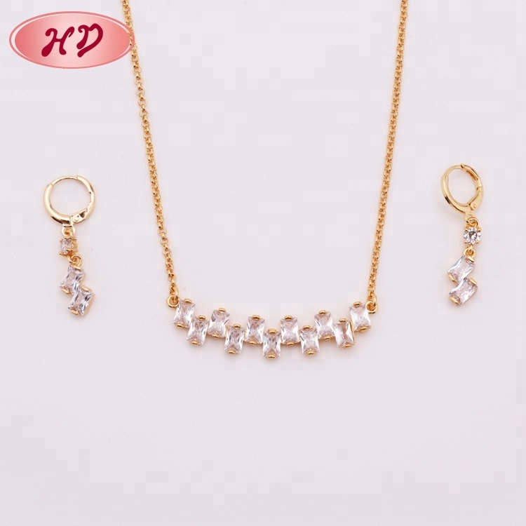 Latest Brass Hot Sale CZ 18K Gold Plated Turkish Jewellery Wholesale