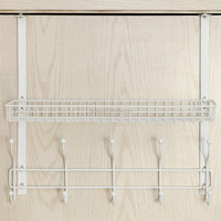 Adjustable Over the Door Mounting White Metal Clothes Storage Shelf
