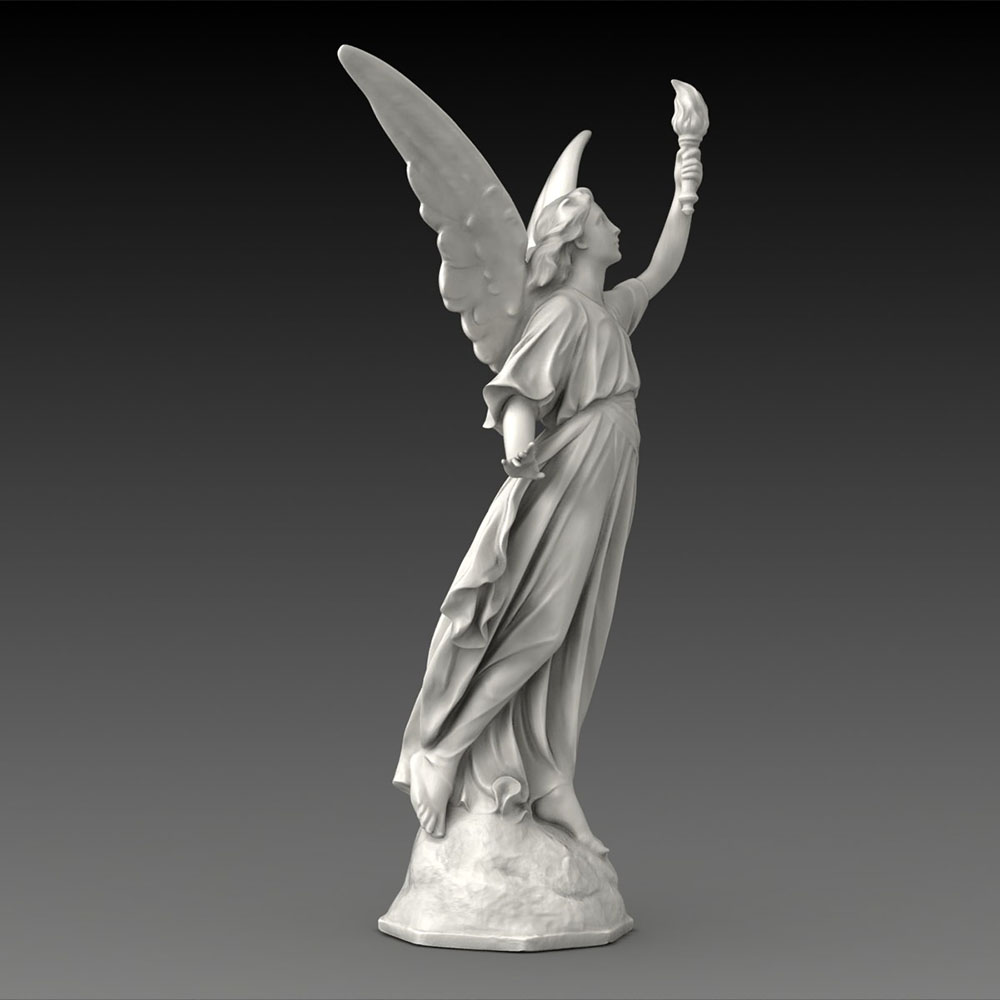 Natural stone female male angel stone statues