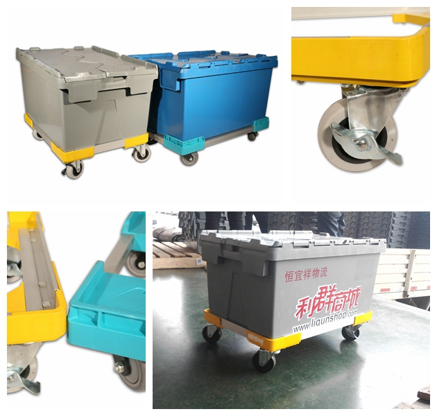 Heavy duty loading plastic moving stainless steel container dolly