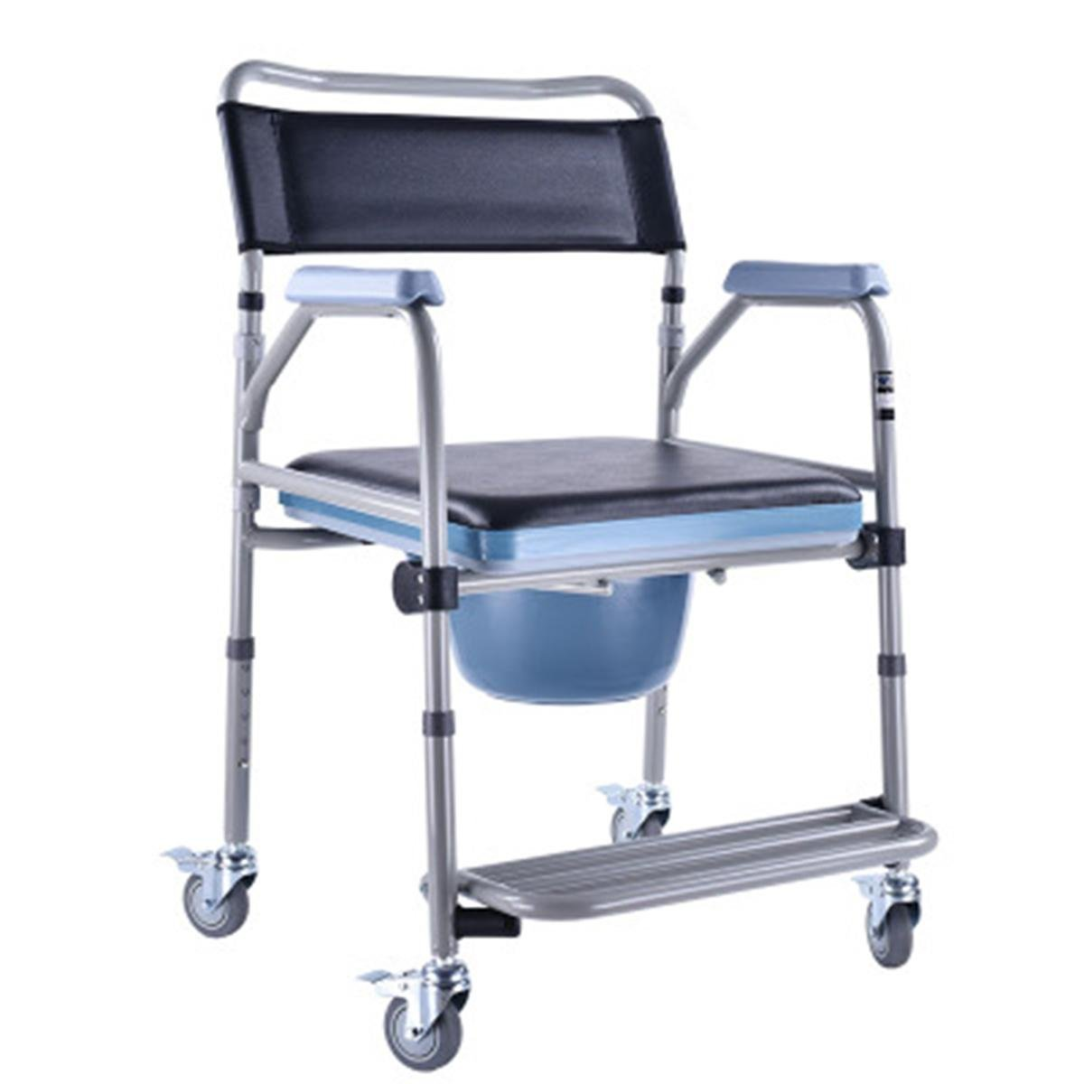Get Quotations · Shower Chair With Wheels Commode Chair and Padded Toilet  Seat Shower Transport Chair Shower Wheelchair Bath