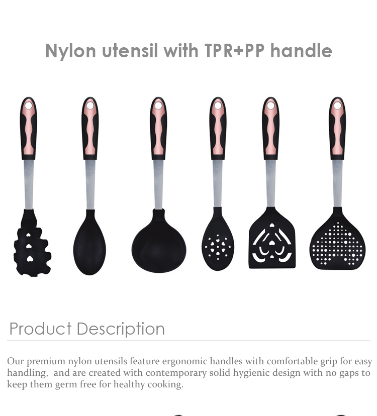 VEICA Latest Design 6-Pcs Nylon Kitchen Cooking Tools Utensils Set With Rose Gold TPR + PP Handle