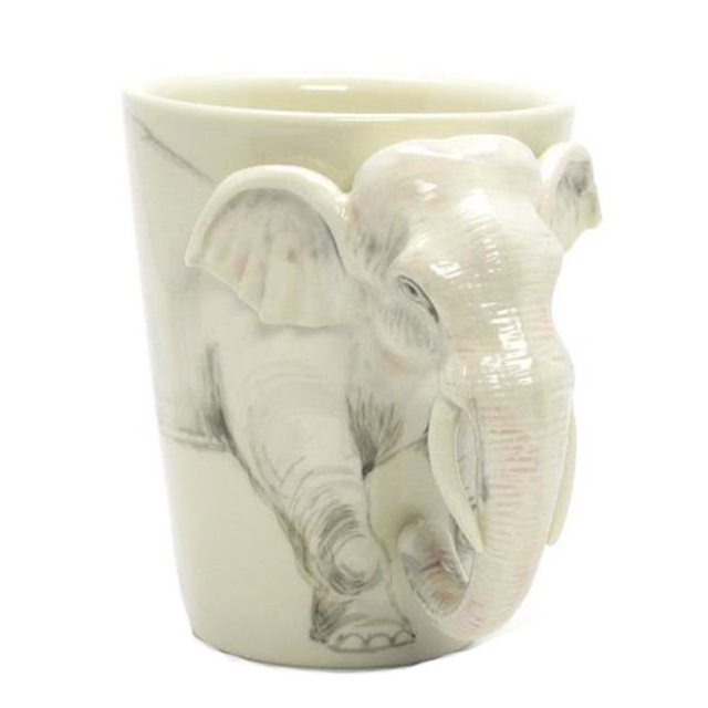 White Elephant Ceramic 3D Mug Handmade Coffee Cup