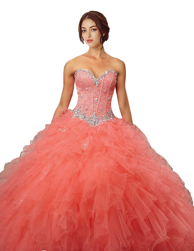 cc08f7573c049 Buy 2015 Coral Quinceanera Dresses Organza Ruffled 15-year Party Dress  Sweetheart With Beading New Arrival in Cheap Price on m.alibaba.com
