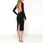 Wholesale Hot Sale Women Classy Sexy Backless Long Sleeve Bodycon Evening Dress