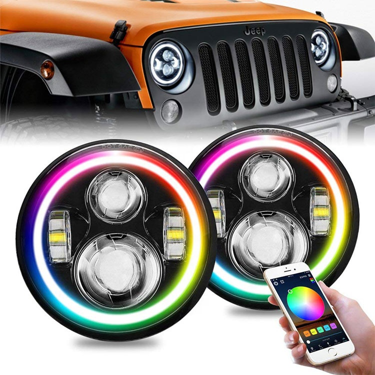 DOT 7 inch Round LED Headlight /w Halo Angle Eyes For Jeep Wrangler JK LJ TJ CJ Hummer