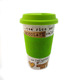 Wholesale V shape ceramic mug cup with silicone cover double wall glazed design