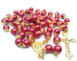 Hot bead Catholic religious Christian jewelry cross red pearl belt Necklace