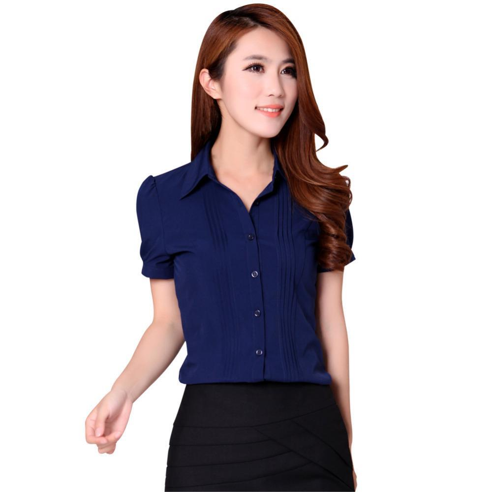 3b10ac7ea2 Korean Career Lady Formal Chiffon Shirts Plus Size S-3XL Business Office  Wear Women Striped Casual Blouses White / Blue