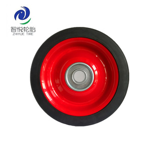 5 inch small metal semi-pneumatic rubber wheels and tires with bearing for cart