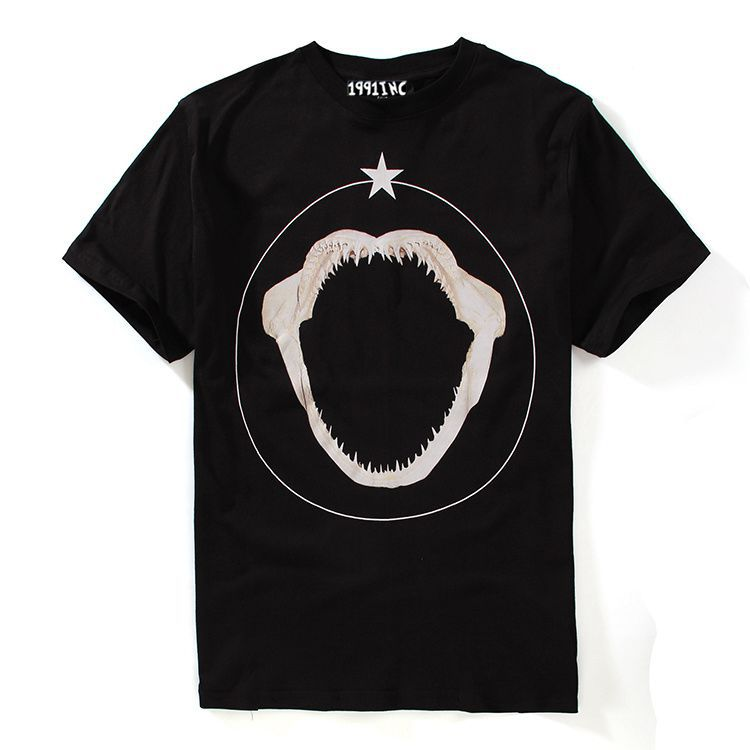 2015 Summer style Europe and American fashion brands t shirt men Shark teeth stars Print Men's fashion cotton short-sleeved tees