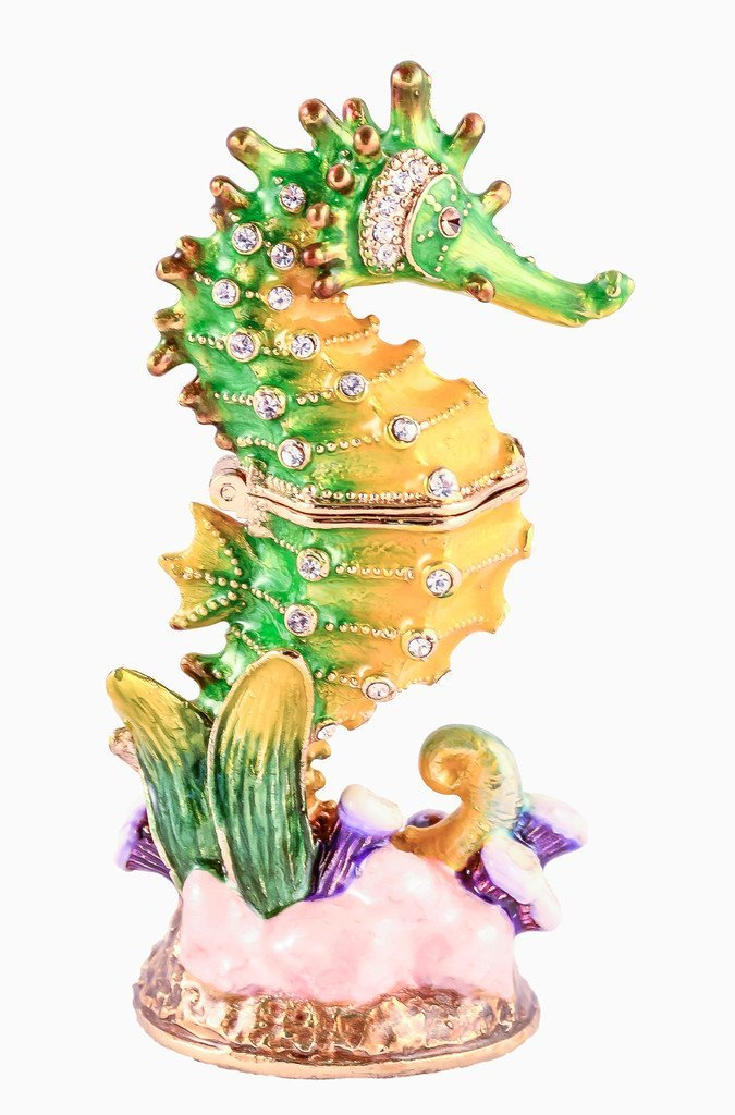 Sea Horse Small Trinket Box, Swarovski Crystal, Hand Painted Green & Yellow Enamel Over Pewter, Inside of Box with Lovely Enamel, L 1.25 X H 3.00 X W 1.25