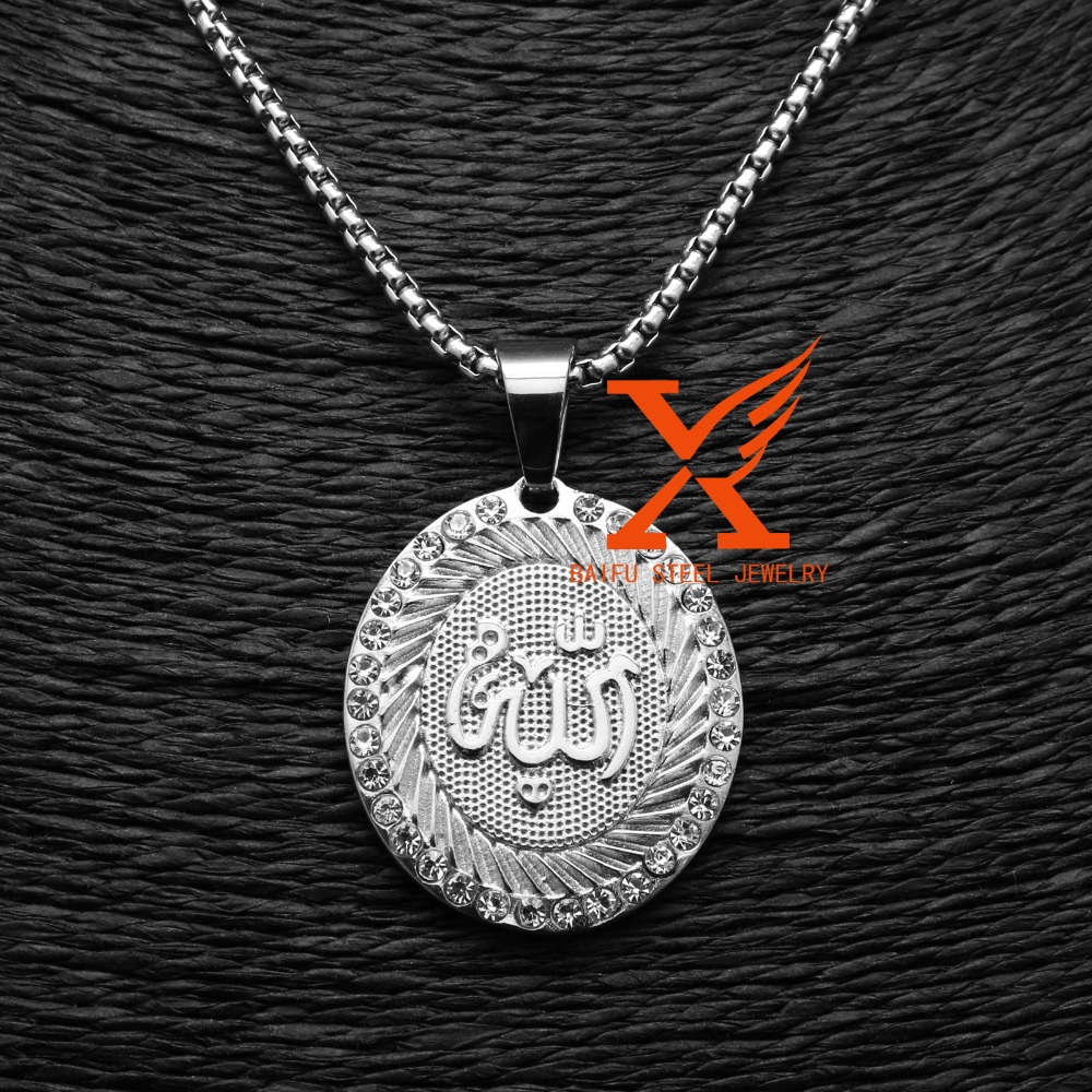 In Stock Wholesale Stainless Steel Silver Micro pave Iced Out Allah Muslim Pendant Islamic Jewelry