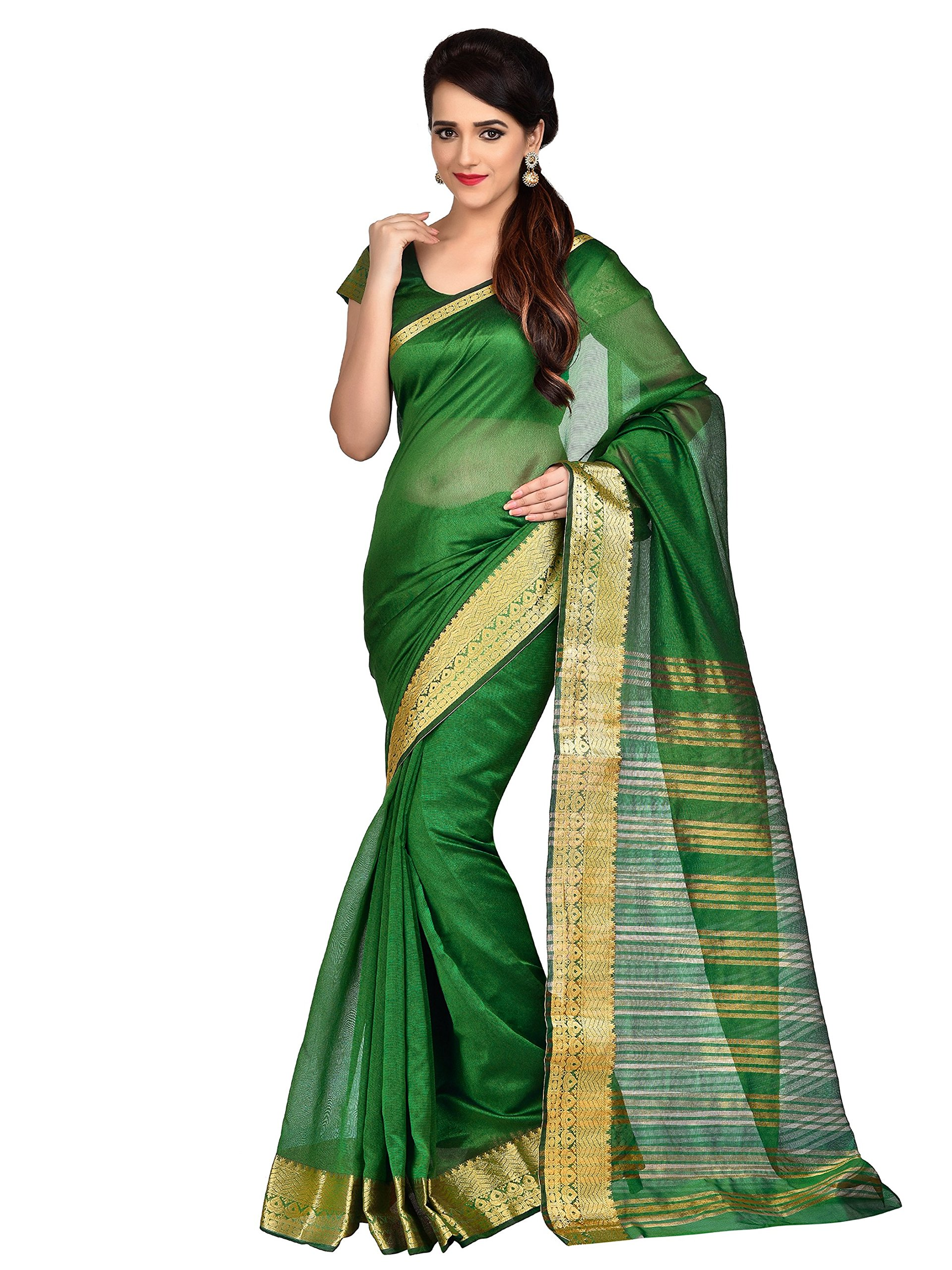 b94567ca4b799 Get Quotations · Shonaya Women s Woven Work Banarasi Art SIlk Green  Designer Saree With Unstitched Blouse Piece