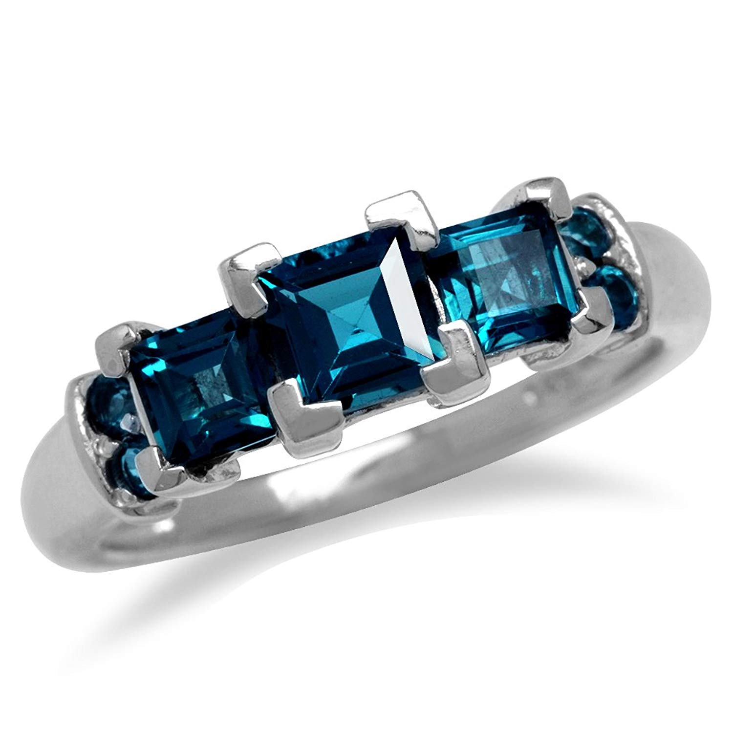 1.76ct. 3-Stone Genuine Square Shape London Blue Topaz White Gold Plated 925 Sterling Silver Ring