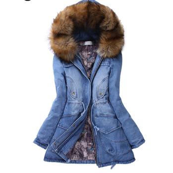 Winterjas Bont Dames.Dl20093e Vrouwen Jassen Winter 2017 Lange Vrouwen Denim Jeans Jacket