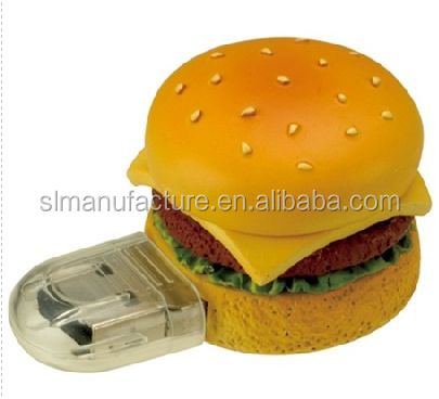 Customized 2D 3D USB key promotional gifts for hamburger food USB pendrives