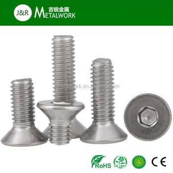 Stainless Steel Hex Socket CSK Head Machine Screw DIN 7991