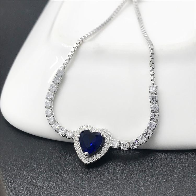 a1415dd2348eb Bleu CZ En Forme De Coeur En Cristal Chaîne Coulissante Bracelets pour  Femmes Mode Argent 925