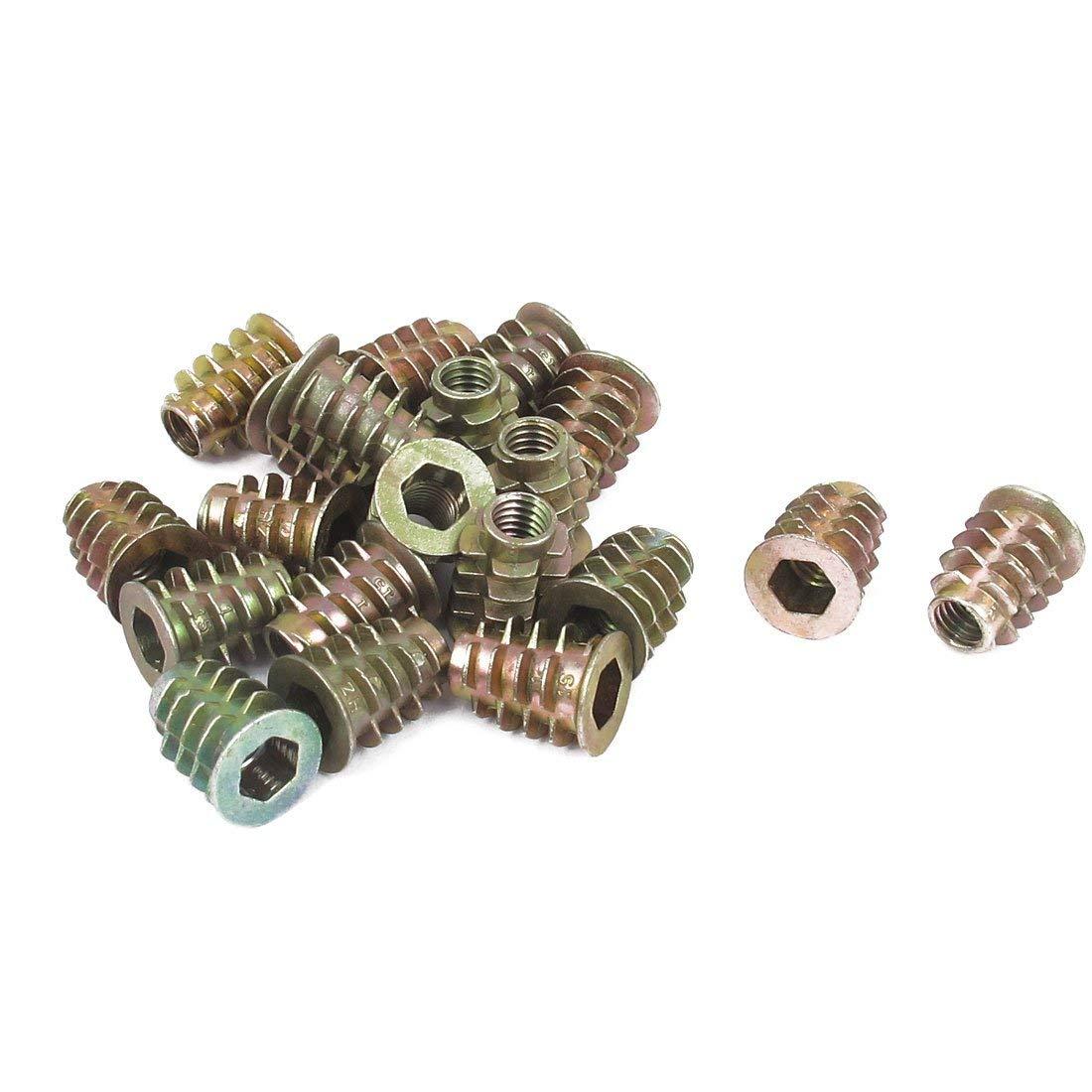 uxcell M6x10mm Wood Insert E-Nut Screws Furniture Fittings Zinc Alloy Bronze Tone 30pcs
