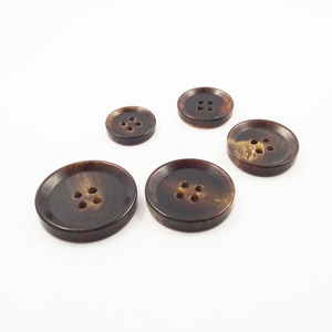 Garment Accessories 4 Holes Black and Brown Natural Horn Button