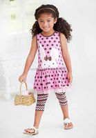 2016 children kids clothing sets easter rabbit clothing matching polka dots dress