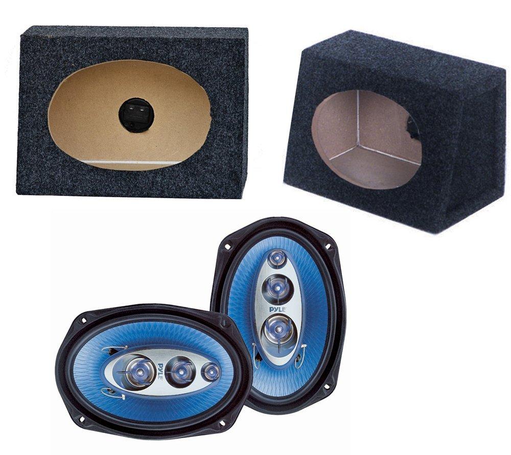 """2) NEW Pyle PL6984 6x9"""" 400W Car Audio Speakers + 2) 6x9"""" Speaker Box Enclosures"""