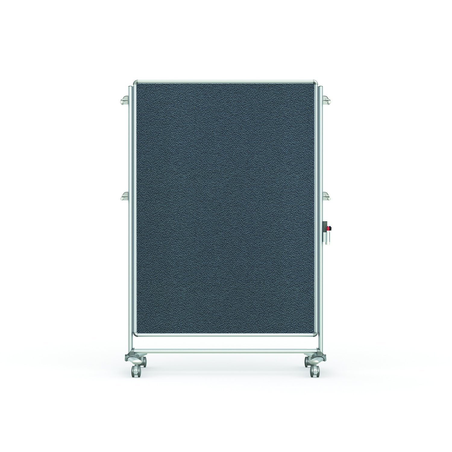"""Ghent 76-1/8"""" x 52-3/8"""" Nexus Partition Mobile Fabric Bulletin Board, Double-Sided, Gray (NEX224FFP-91)"""