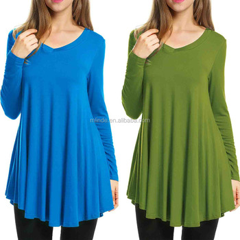 Plain Dyed Women's V-Neck Long Sleeve Casual Jersey Tunic Tops Latest Tunic Tops Designs