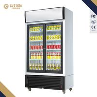 580L Sliding door commercial refrigerator with glass display freezer