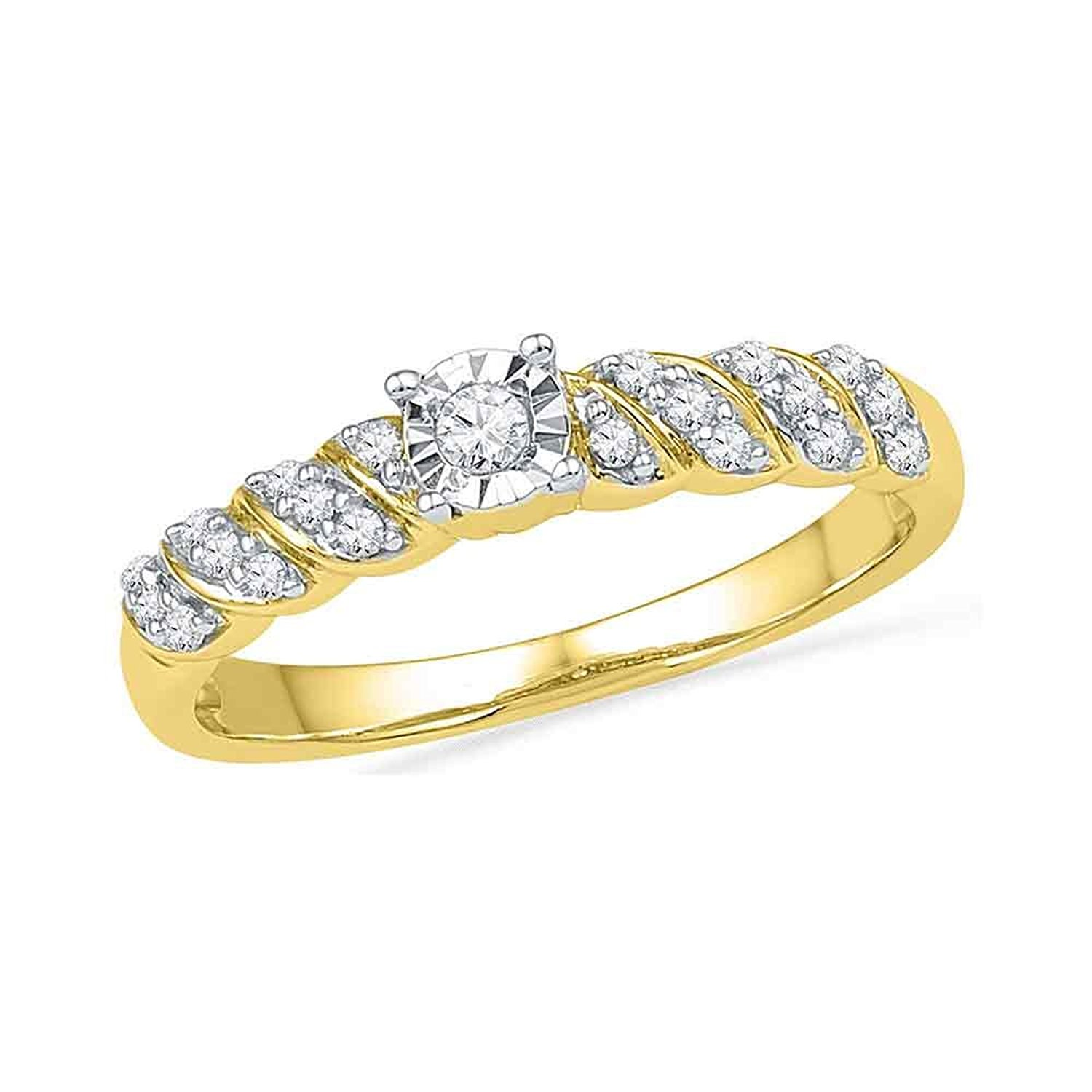 25e3cb8f58 Get Quotations · Round Diamond Promise Ring Solid 10k Yellow Gold  Engagement Band Bridal Fashion Polished Fancy 1/