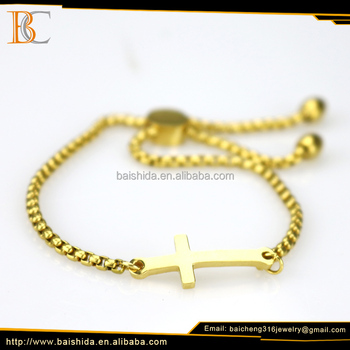 cross shape cheap gold charm colorful bead bracelet with no stone