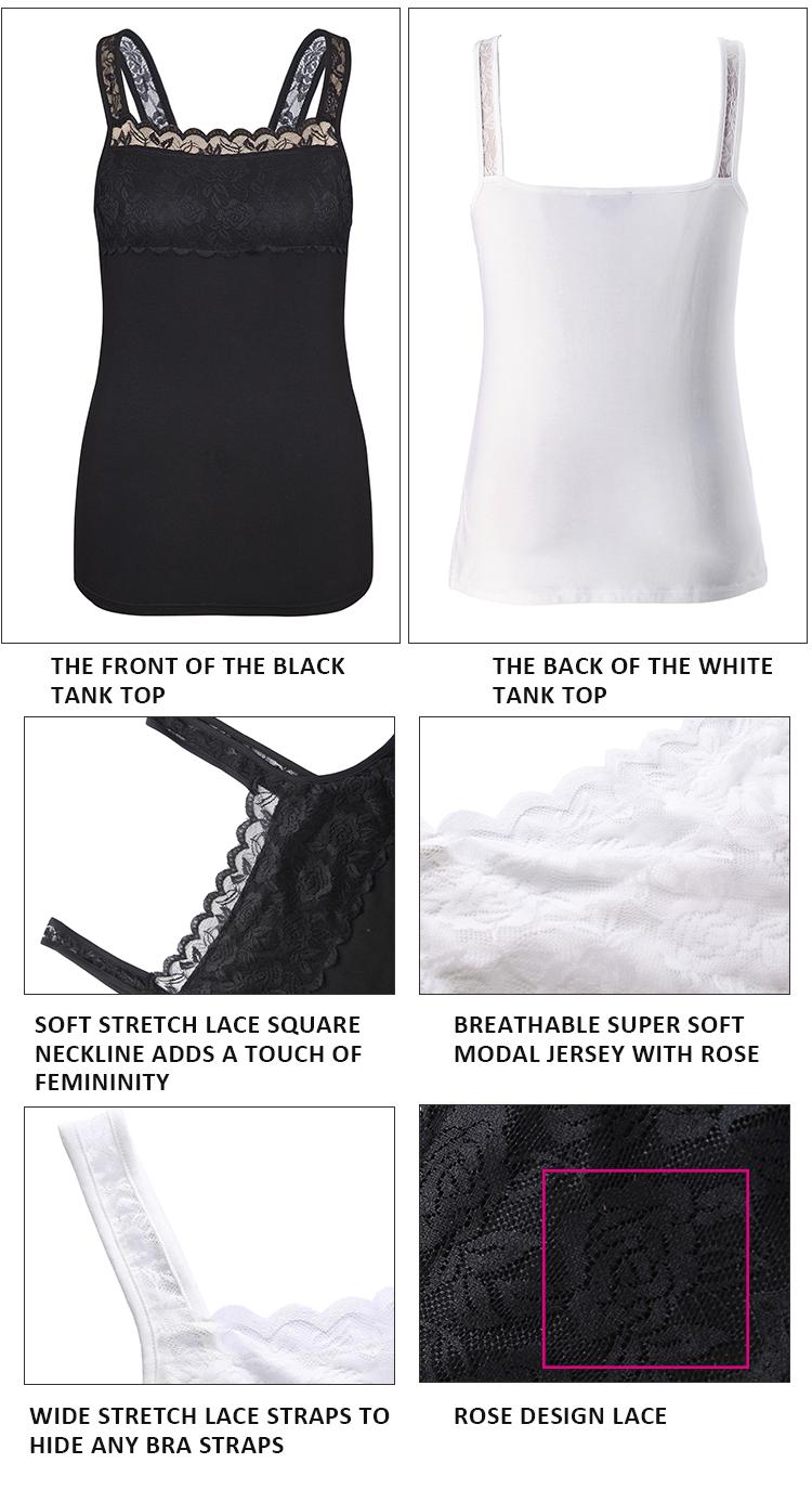 65d7bd33448b1e le. New Quality Women Plus Size Tank Top Customized Big Size Modal Stretch  Lace Camisole