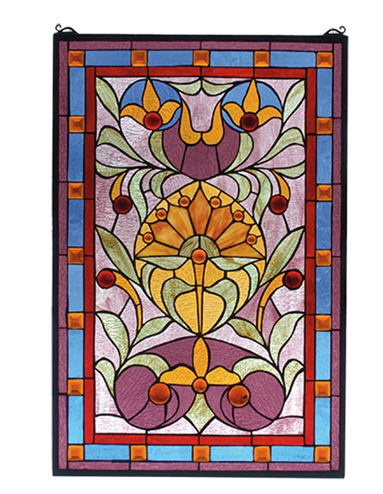 "Meyda Hand Crafted Designed Art Decorative Panel 20""W X 30""H Picadilly Stained Glass Window-Naebwg Orange Red Light Blue Pink Amber"