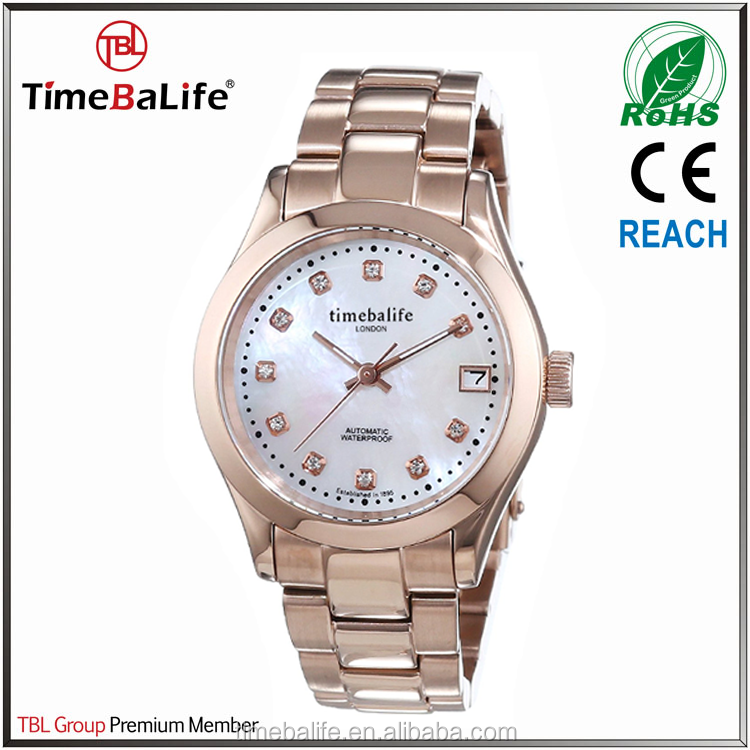 Most Popular products 36MM All Stainless Steel Rose Gold Automatic Fashion Women Watch