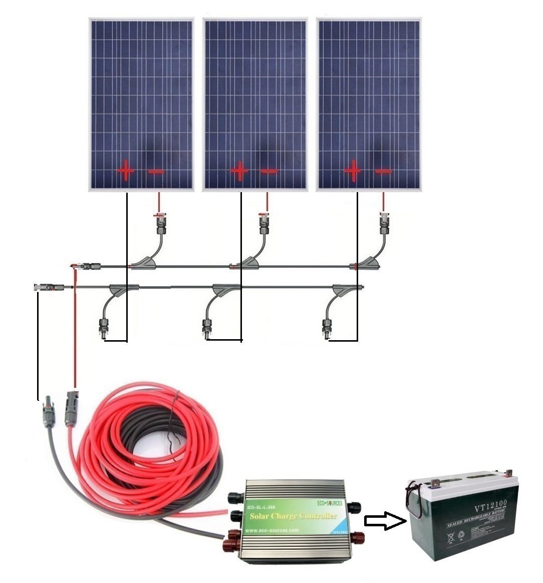 Cheap 100ah Battery Case 12v Find Deals On Solar Charger Circuit Can Charge Lead Acid Or Sla Get Quotations Eco Worthy 300w Complete Kit For 3pcs 100w Panels