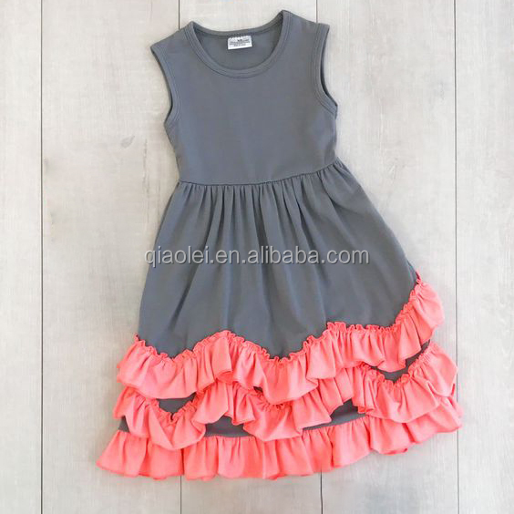 High quality gray dress water wave ruffle boutique girl kids dresses