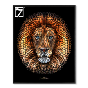 Ben Heine Art Animal Lion Creative Circlism Framed Canvas Print for Wall Decor
