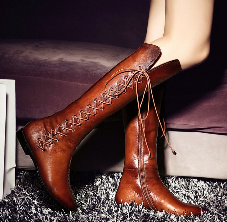C27542A Winter Women Genuine Leather Long Boots