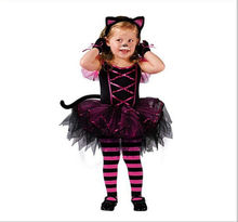 Kids Child Girls Kitty Cat Costume Carnival Halloween Princess Fairy Fancy Dress up Cosplay Outfits with Ear Headband Size 2-10Y
