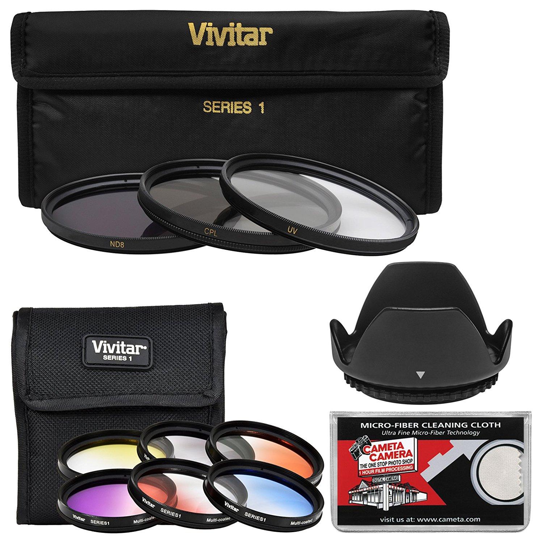 Vivitar 55mm 9-Piece Multi-Coated HD Filter Set (UV/CPL/ND8, 6 Graduated Color Filters) + Lens Hood + Kit
